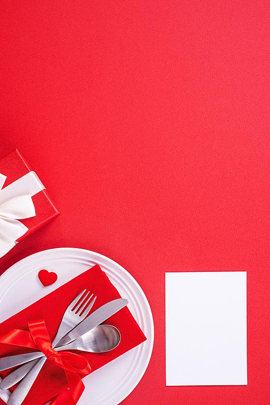 红色背景,情人节,概念,膳食,盘子,浪漫,分离着色,请柬,贺卡,餐具