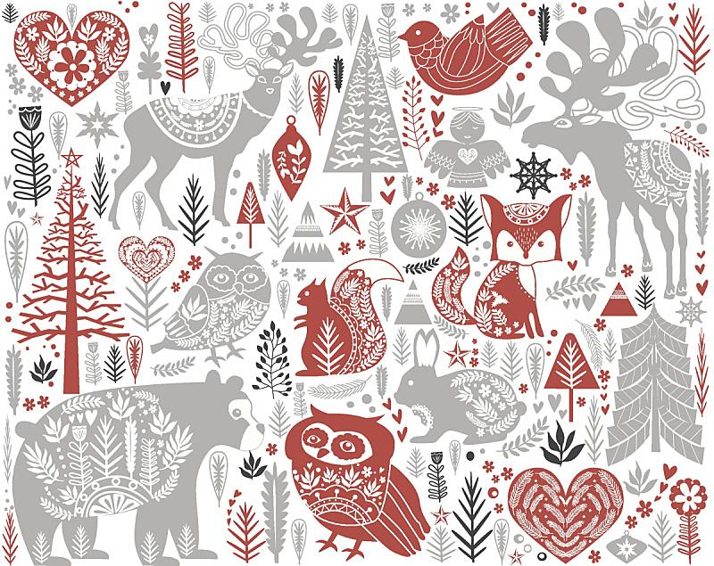 斯堪的纳维亚人,式样,可爱的,时尚,贺卡,新的,水平画幅,纺织品,雪
