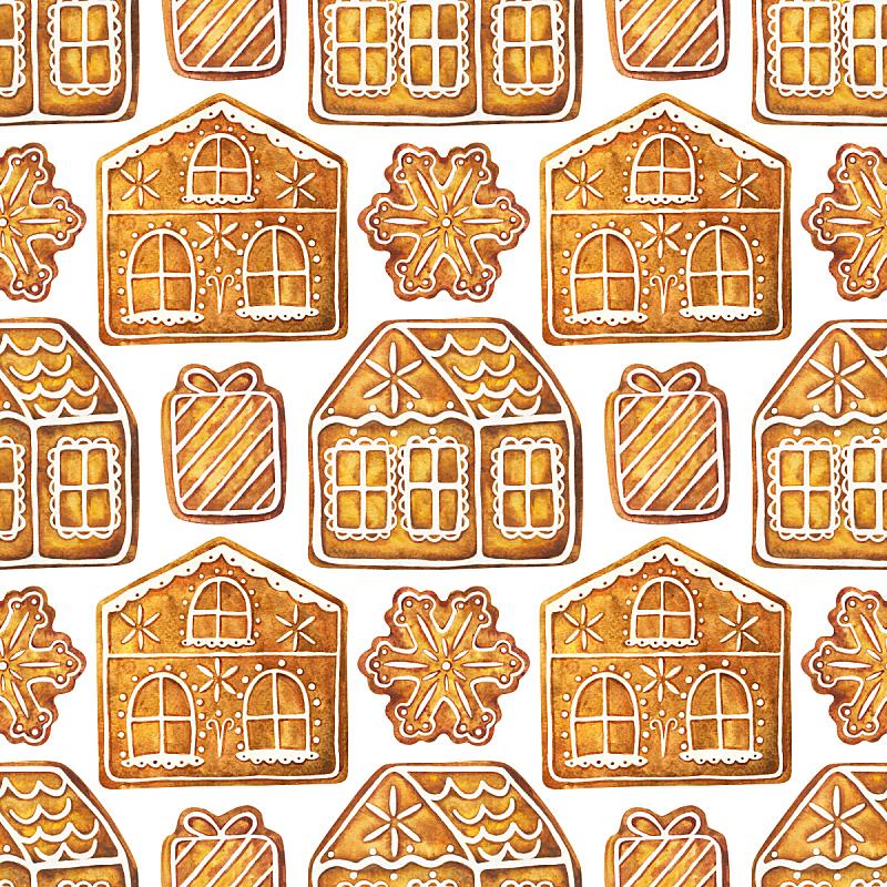 姜饼蛋糕,饼干,凉鞋,水彩画,传统,连指手套,水彩画颜料,食品,甜点心,甜食