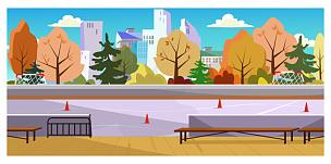 绘画插图,旱冰,太空,路锥,可爱的,周末活动,城市生活,运动,一个物体,交通