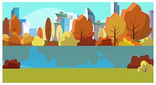 绘画插图,城市生活,秋天,九月,一个物体,环境,橙色,天气,停车