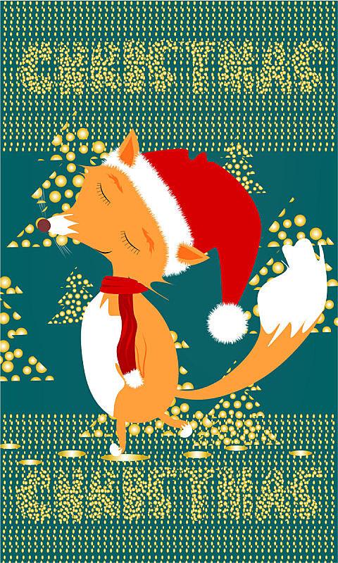 圣诞树,可爱的,绿色背景,金色,乐趣,狐狸,设计,闪亮