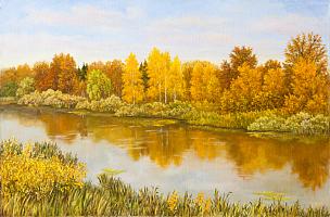 秋天,河流,绿色,草,画布,俄罗斯,橙色,宁静,动物手,地形