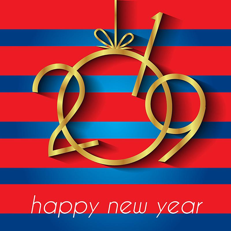 新年前夕,2019,背景,球,贺卡,新的,艺术,夜晚,雪