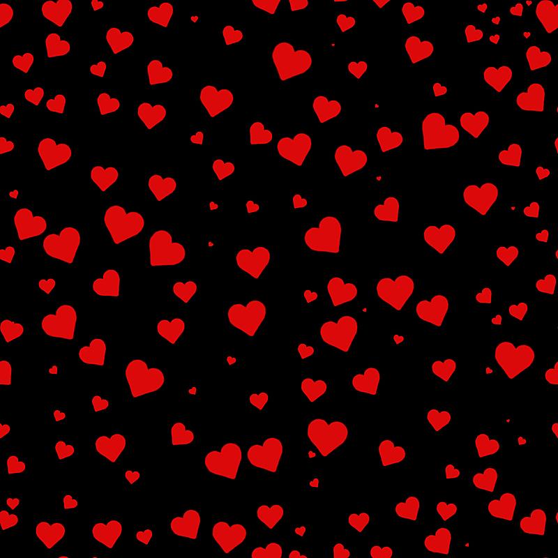 四方连续纹样,情人节,红色,动物心脏,黑色背景,华丽的,纺织品,浪漫,情人节卡,柔和色