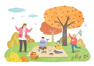 秋天,生活方式,绘画插图,插画,野餐,公园,旅行的人,水果,午餐盒,树