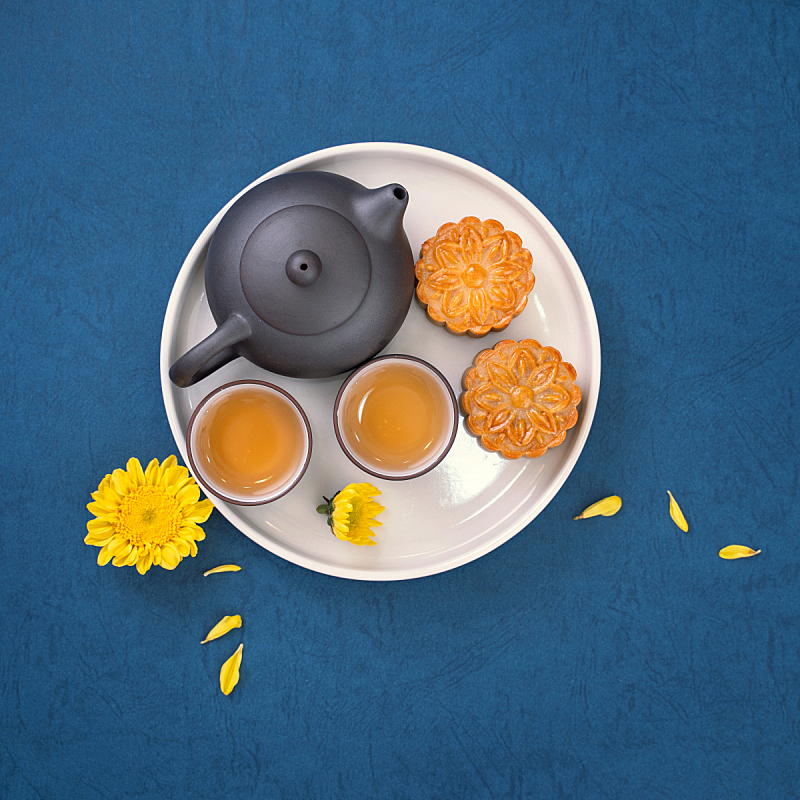 概念,创造力,简单,极简构图,月亮,食品,中秋节,蓝色背景,计划书,设计