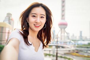 旅行者,女性,自拍,城市生活,无忧无虑,肖像,一个人,东亚人,女人,著名景点