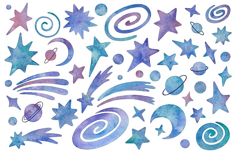 行星,星系,星星,彗星,四元素,分离着色,手工着色,水彩画,白色背景,可爱的