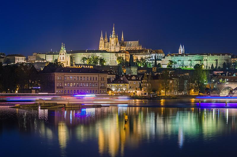 都市风景,布拉格,捷克,国际著名景点,旅途,曙暮光,黄昏,著名景点,河流