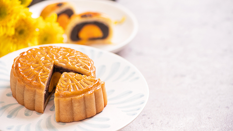 白色背景,横截面,概念,传统,盘子,食品,月饼,中秋节,自然美,花