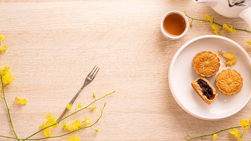 明亮,黄色,木制,桌子,下午茶,月饼,中秋节,概念,庆祝,花