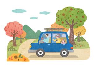 生活方式,秋天,插画,绘画插图,汽车,旅行的人,家庭,水果,驾车,微笑