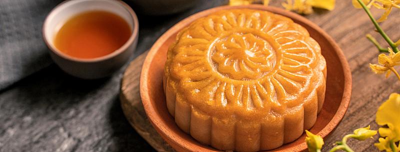黑色背景,概念,传统,月饼,食品,桌子,中秋节,石片,茶,花