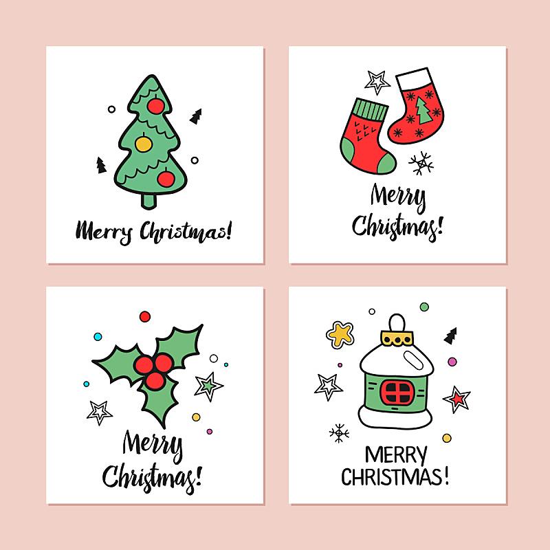 圣诞卡,绘画插图,新的,艺术,袜子,无人,历日,榭寄生,符号