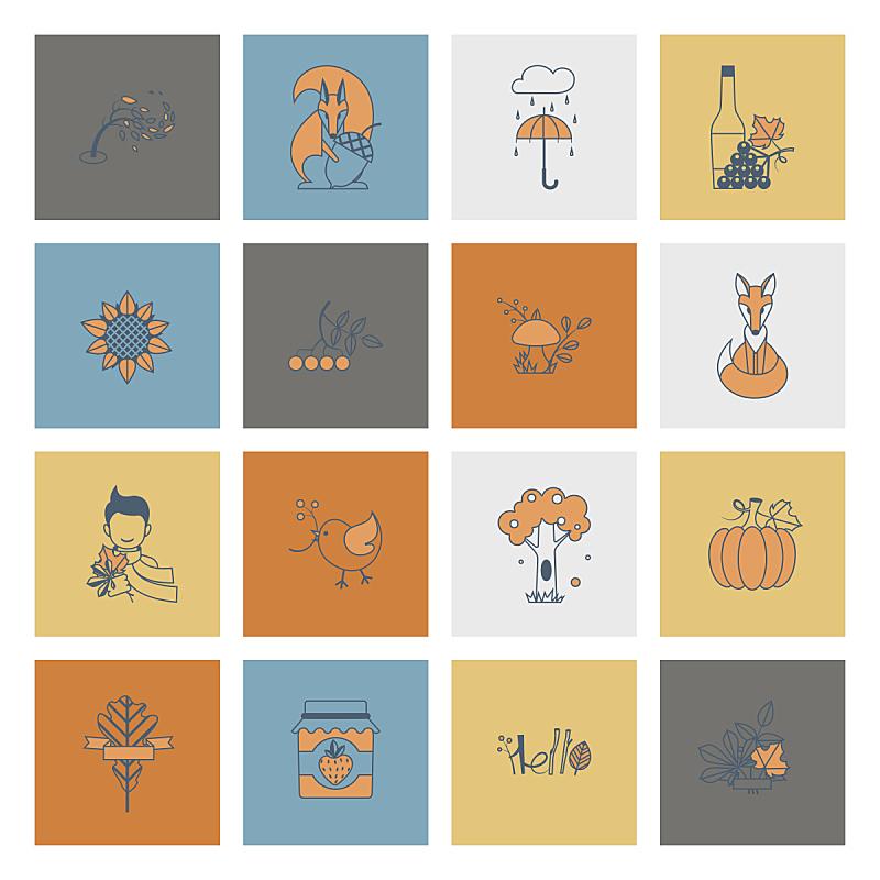 秋天,平坦的,计算机图标,葡萄酒,枝繁叶茂,绘画插图,南瓜,计算机制图,计算机图形学,雨