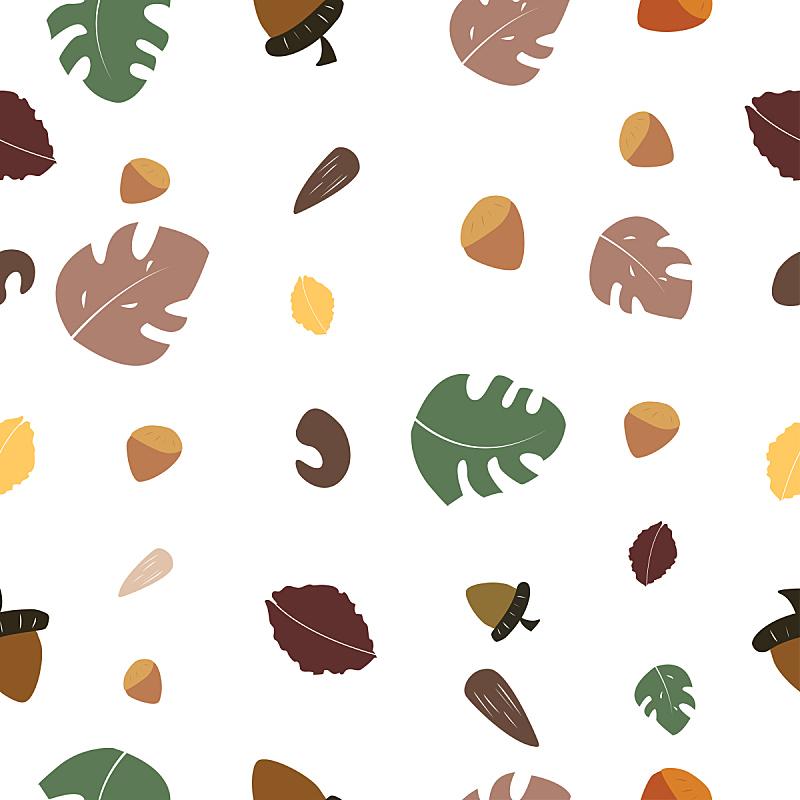 坚果,叶子,式样,纺织品,鸡尾酒,四方连续纹样,褐色,艺术,无人,绘画插图