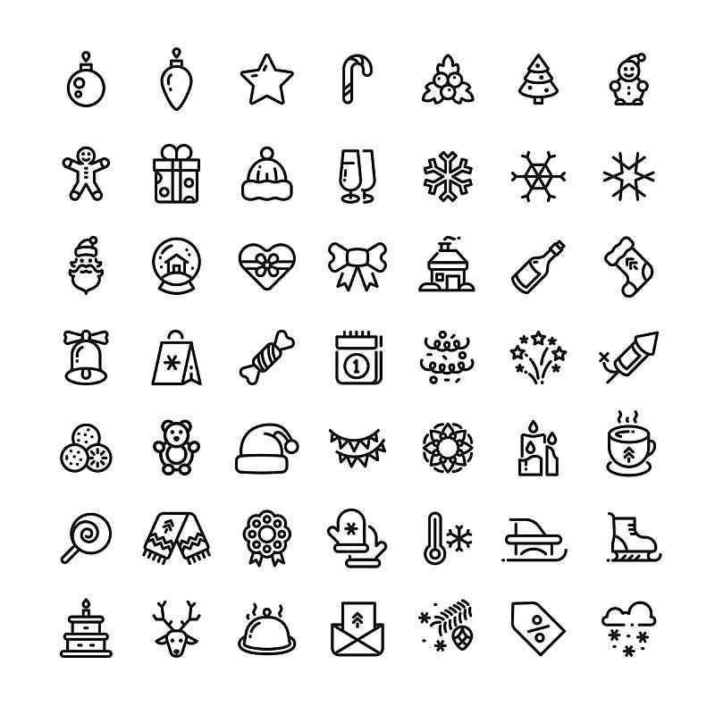 冬天,矢量,符号,轮廓,线条,新年,球,新的,雪