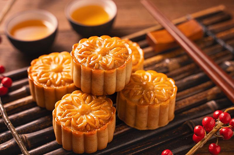 竹子,木制,传统,背景,主菜餐盘,茶杯,月饼,中秋节,酥皮糕点