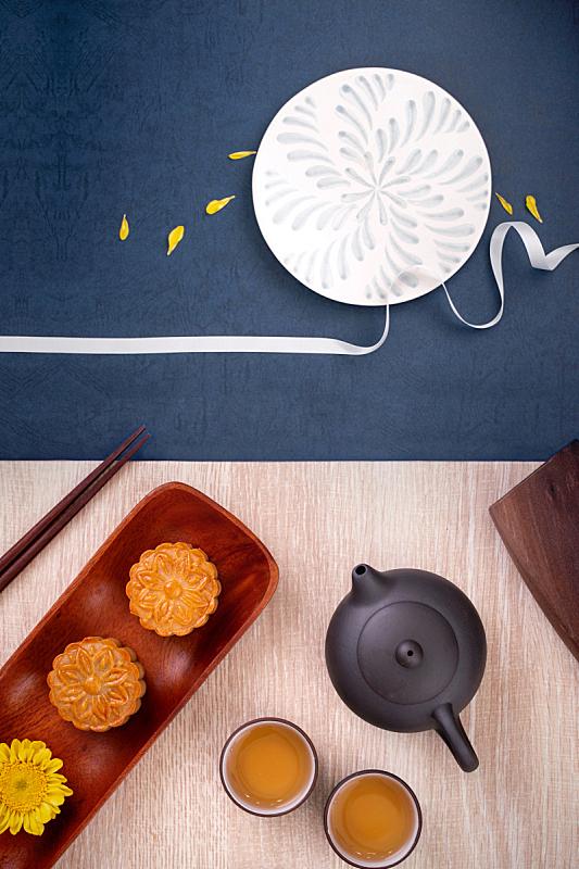 月亮,木制,月饼,中秋节,创造力,茶,油酥面包,桌子,享乐,设计