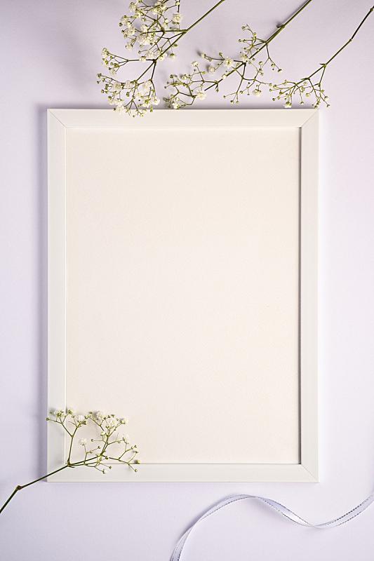 贺卡,空的,白色,纺织品,水香花菜,缎带,白色背景,模板,相框,花
