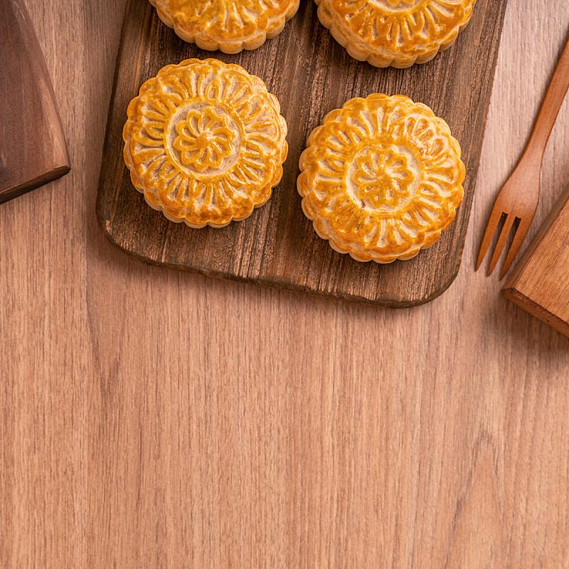 圆形,木制,月饼,餐盘,中秋节,背景,留白,点心蛋糕,饼干,东亚