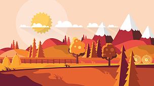 矢量,秋天,平坦的,风景插画,绘画插图,计算机制图,计算机图形学,光,彩色图片,松科