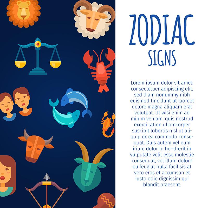 矢量,背景,天空,绘画插图,黑色,标志,天秤座,水瓶座,符号,月