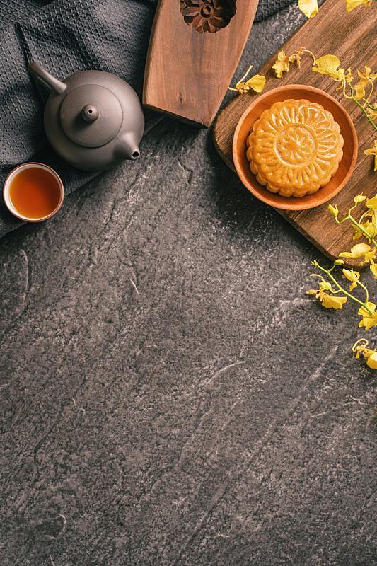 黑色背景,概念,传统,石片,桌子,食品,月饼,中秋节,茶,花