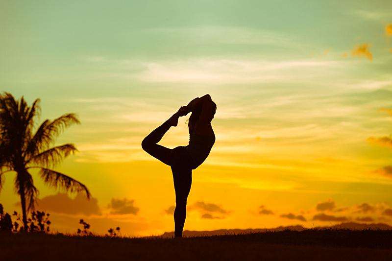 瑜伽,女人,活力,精神启蒙,平衡,黄昏,禅宗,户外,仅女人,仅一个女人
