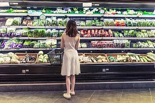 女人,亚洲,有机食品,蔬菜,清新,青年人,超级市场,农产品市场,农业市集