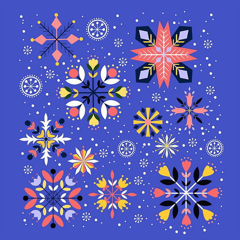 贺卡,雪花,新的,雪,无人,绘画插图,符号,圣诞树,卡通