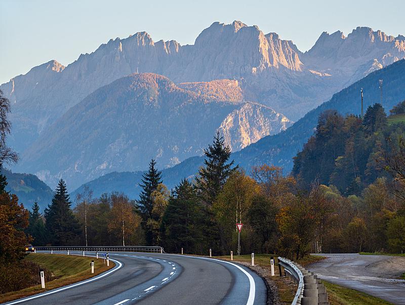 奥地利,黄昏,秋天,阿尔卑斯山脉,路,山,看风景,小路,十月,空的