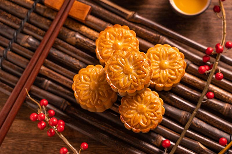 主菜餐盘,竹子,茶杯,木制,传统,月饼,中秋节,背景,酥皮糕点