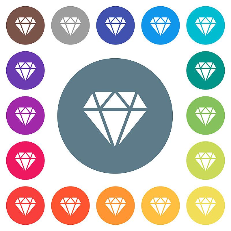 钻石,圆形,平坦的,计算机图标,白色,彩色背景,美,宝石,无人,绘画插图