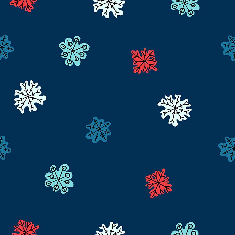 新年前夕,冬天,雪花,概念,四方连续纹样,可爱的,纺织品,雪,现代