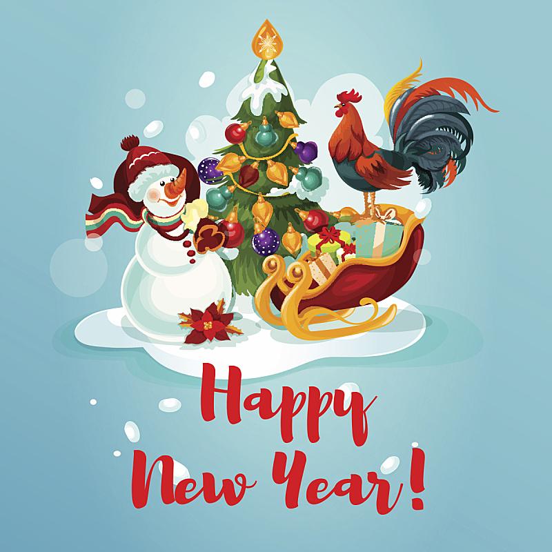松树,雪人,公鸡,球,贺卡,新的,雪,无人,历日