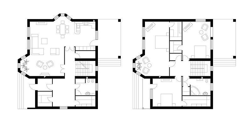 房屋,更衣室,浴室,卧室,蓝图,厨房,梯田,三个物体,计划书,平衡折角灯