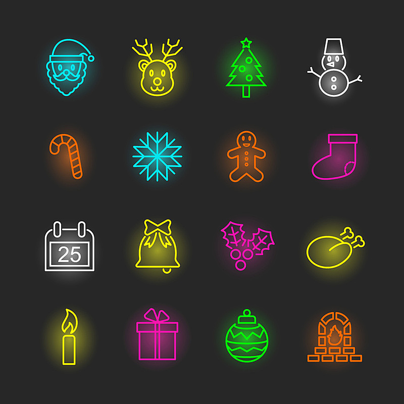 霓虹灯,图标集,袜子,夜晚,雪,无人,榭寄生,绘画插图,符号