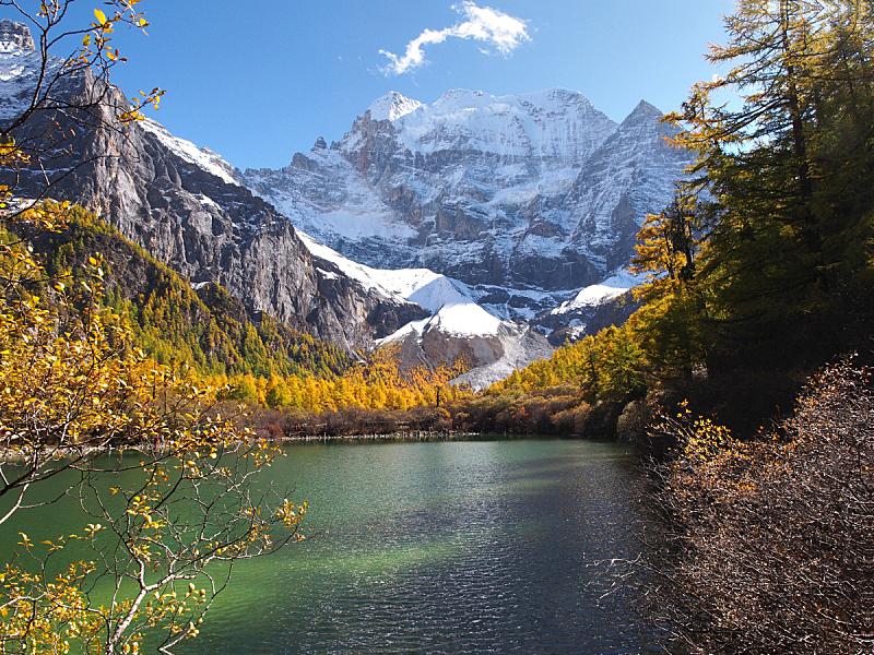 稻城亚丁,湖,自然保护区,珀尔湖,稻城,四川省,自然,美,水平画幅,秋天