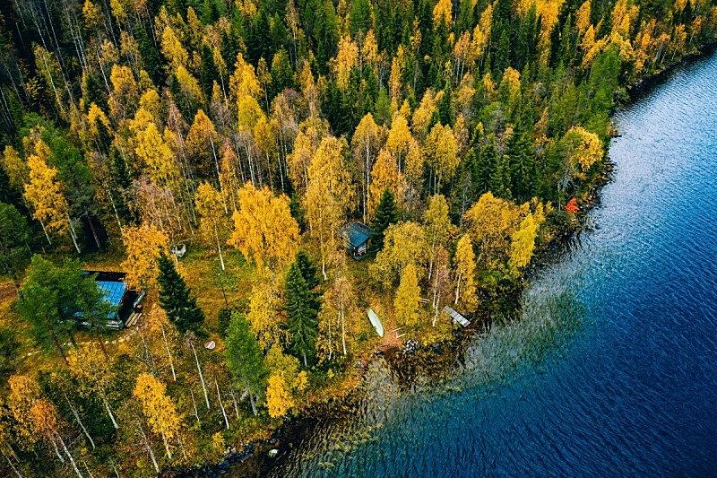芬兰,航拍视角,秋天,小别墅,森林,蓝湖,什锦烤燕麦片,麦片,奇亚籽,奶制品