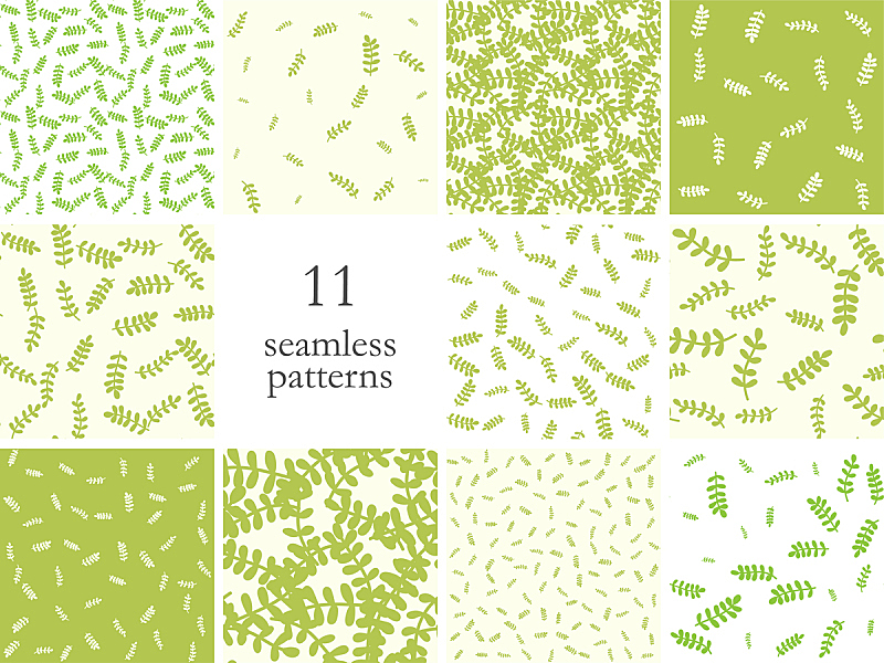 шаблон для мандалыCollection of seamless vector leaves patterns. Stylish design for print, fabric, textile, cover, wrapping etc. Set of 10 eps simple green botanic backgrounds.