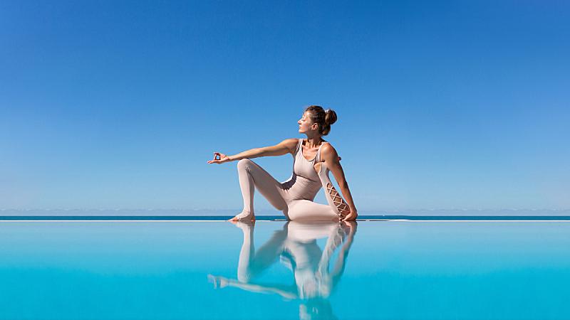 瑜伽,泳池边,女人,活力,气候,运动,对称,弹性,平衡,禅宗