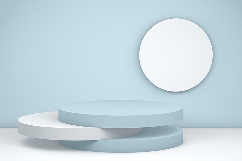 空的,领奖台,极简构图,陈列室,抽象,蓝色背景,商品,概念,商务,几何形状