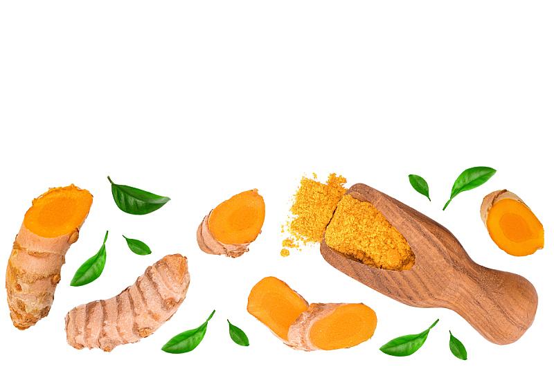 姜黄,根部,留白,在上面,平铺,分离着色,研磨食品,文字,白色背景