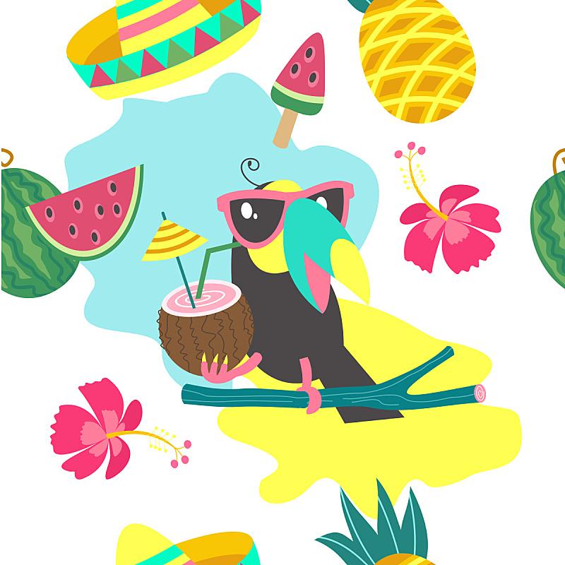 绘画插图,四方连续纹样,叶子,矢量,多色的,巨嘴鸟,鸡尾酒,热带鸟,水果,美
