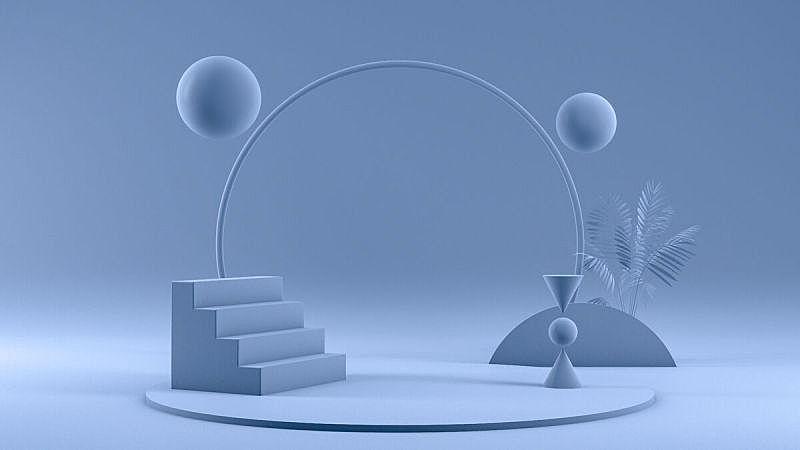 空的,三维图形,极简构图,蓝色背景,车站月台,指挥台,商品,商务,球体,几何形状