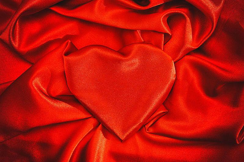 红色,背景,情人节,心型,丝绸,窗帘,纺织品,图像,折叠的,无人