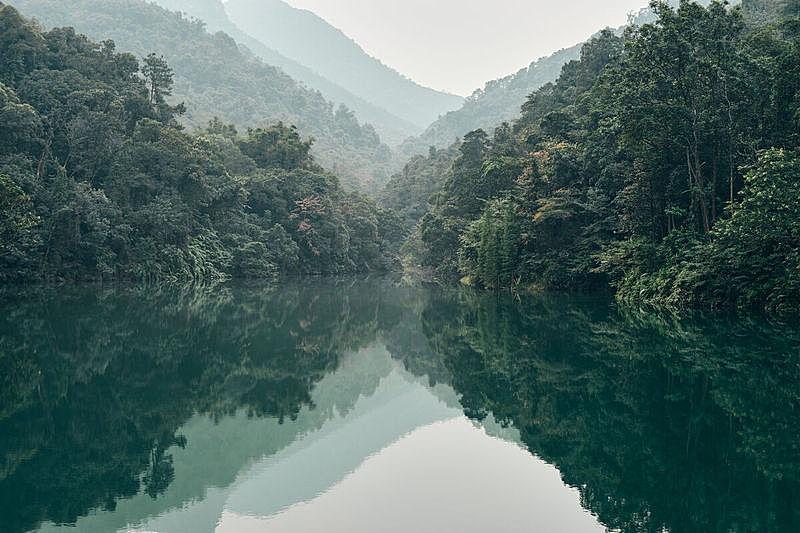 山,湖,反射