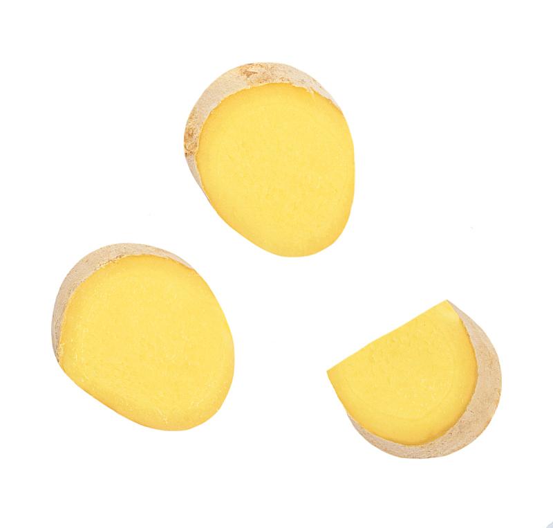 清新,白色背景,生姜,切片食物,视角,分离着色,平铺,上装